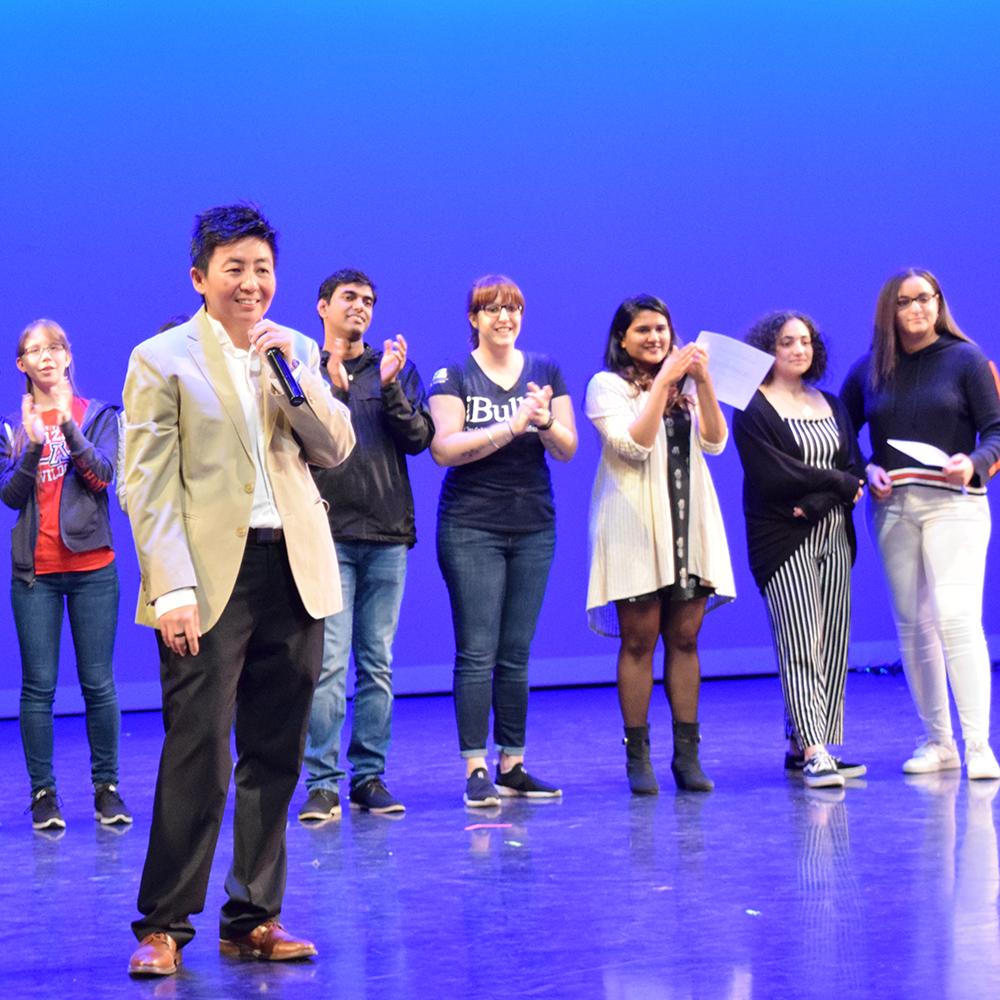 Host, Len, at the Global Wildcats Got Talent show
