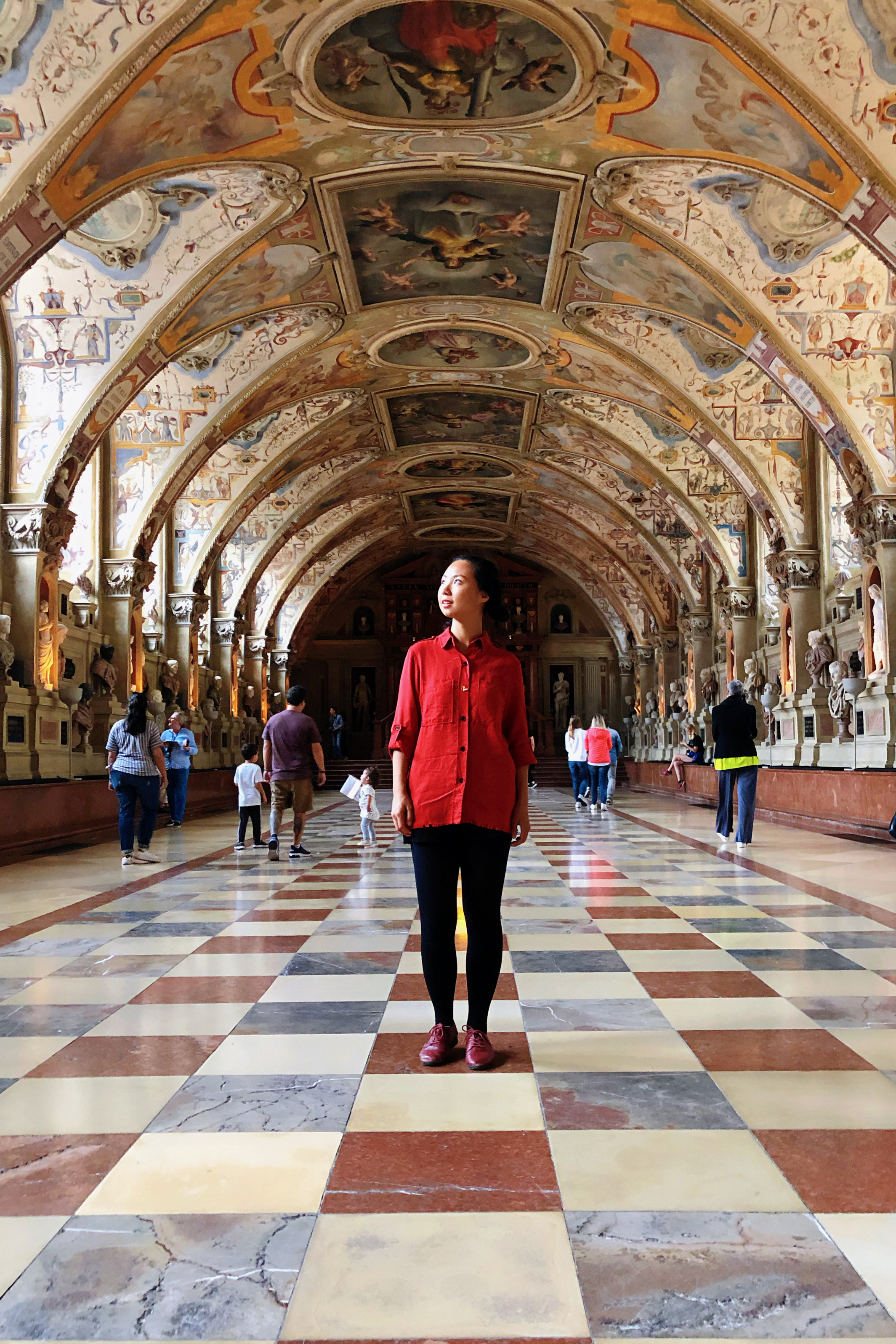 Mandy Han, studying abroad in Munich, Germany, standing in museum hallway