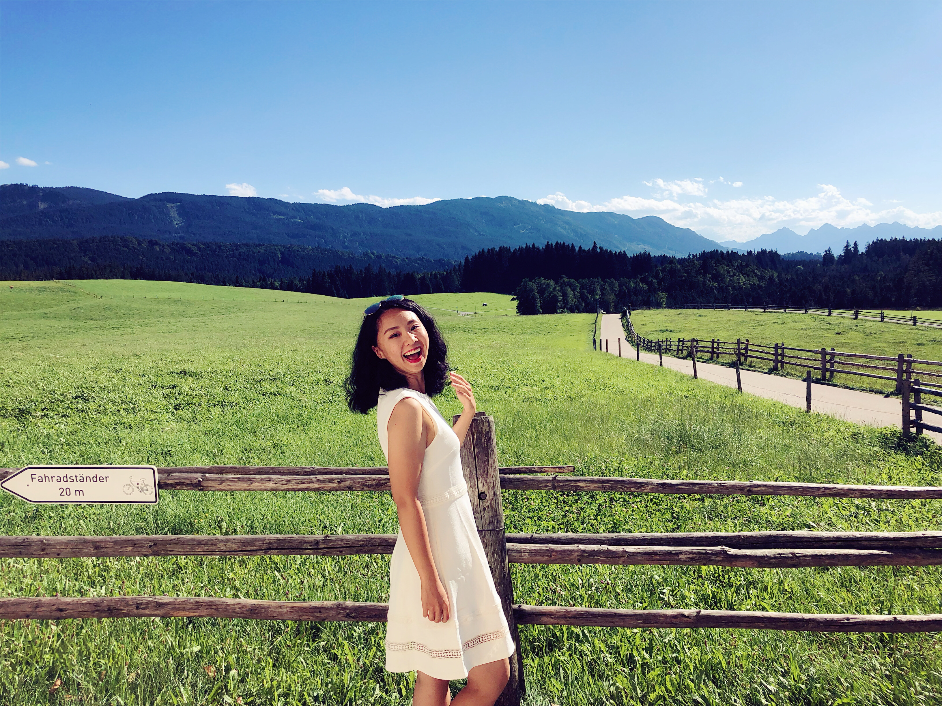 Mandy Han, studying abroad in German, pictured with field in background, Wies, DE