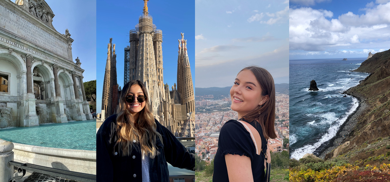 collection of four photos from Europe (left to right: Fountain, person with a cathedral, person in Barcelona, coastline)