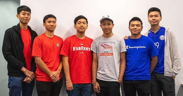 From left to right: Mowinsphat In, Prokorb Chan Ek, Vichetsocare Somiel, Ya Ponleu Yin, Chhouhan Banh, Victor Pa.