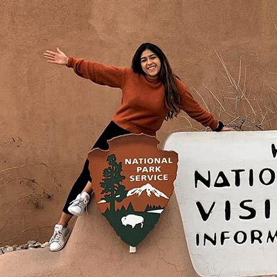 Rosalba on National Park sign