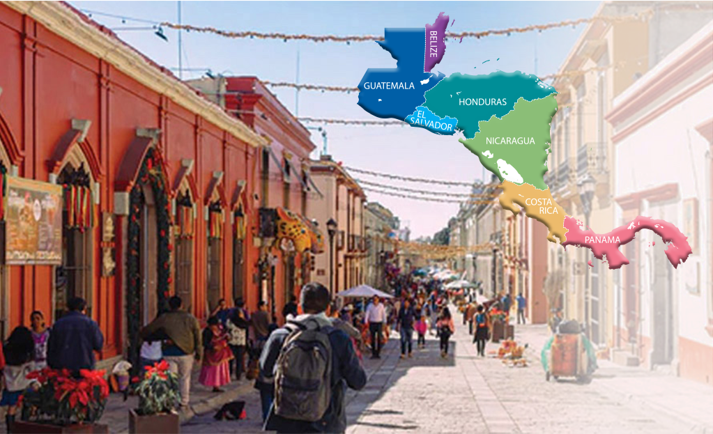 Picture of Central American village street with a market, and a map of Central America superimposed.