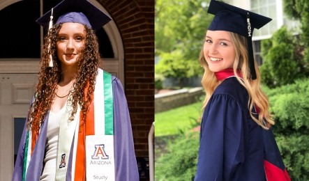Study Abroad Student Workers Topacio and Taylor graduating in 2021