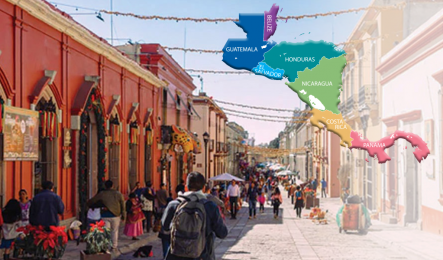 Photo of a village street in Central America, map of Central America superimposed on right