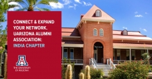 UArizona Old Main with text: connect and expand your network.