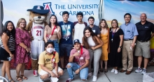 International students with Wilbur Wildcat at the 2021 Global Wildcat Welcome Party