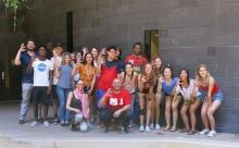 Global Bridge students pose at the University of Arizona.