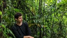 Taite Nazifi posing in the rainforest of Costa Rica.