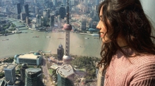 Madison Loya, who completed her UA student teaching in China, takes in the view from the observation deck of Shanghai Tower, the world's second tallest building. (Courtesy of Madison Loya)