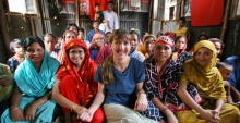 Marla Smith-Nelson meets with a community group in a slum of Dhaka, Bangladesh's capital city.