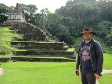 UA alum and Fulbright recipient Edward Polanco posing outside ruins in Mexico