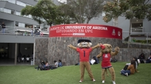 Wilbur and Wilma Wildcat visit UArizona's first microcampus at UPC in Lima, Peru
