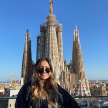 Person standing in front of Cathedral in Spain