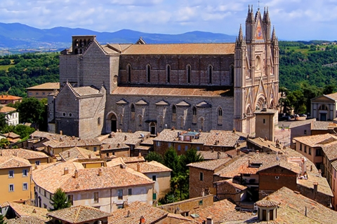 View of cathedral and town, Orvieto, Italy