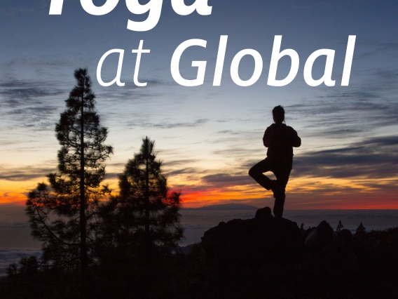 Silhouette of a person in tree pose, doing yoga outdoors