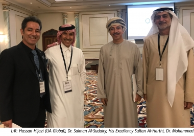 L-R: Hassan Hijazi (UA Global), Dr. Salman Al-Sudairy, His Excellency Sultan Al-Harthi, Dr. Mohammed