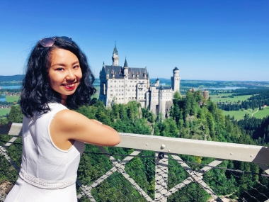 Mandy Han, studying abroad in Germany, Schwangau - castle in background