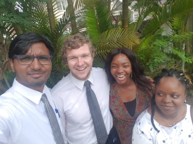 UA Student Joseph with friends, study abroad in Mauritius