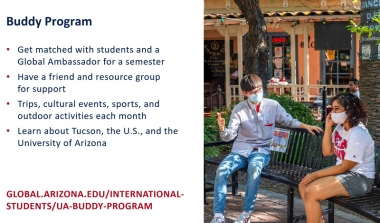 Buddy Program details. Two students speaking