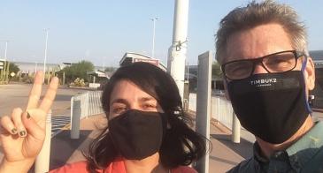 Mariel Miranda arrives in Tucson from Tijuana, with Professor David Taylor.