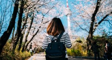 Girl with backpack, Seoul South Korea, Cherry Blossom Season