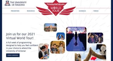 Homepage screenshot of the Global Wildcats Virtual World Tour